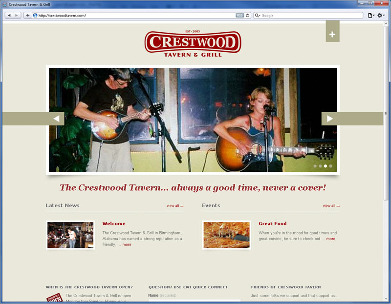 Contrive Website Design - Crestwood Tavern